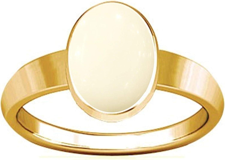 Divya Shakti 7,25-7,50 quilates blanco coral Panchadhatu anillo de diseño liso (SAFED Moon / Munga Stone Anillo de diseño liso) para hombre y mujer