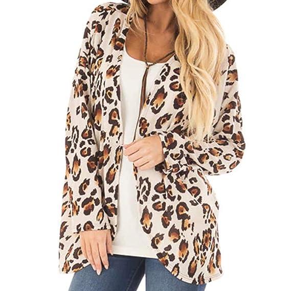 Linlink Gran promoción Mujeres Prendas de Abrigo con Estampado de Leopardo de impresión de Manga Larga Blusa Chaqueta Casual Camiseta Tops Outwear: ...