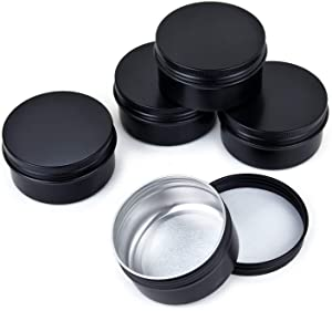 Healthcom 5 oz 12 Packs Black Round Aluminum Tin Cans Screw Top Metal Steel Tins Empty Slip Slide Cosmetic Sample Containers Storage Organization for Salve Crafts Spice Candles(150g)