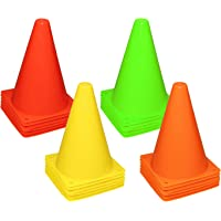 Reehut 7 Inch Plastic Sport Training Traffic Cone (Set of 12 or 24)- 4 Colors