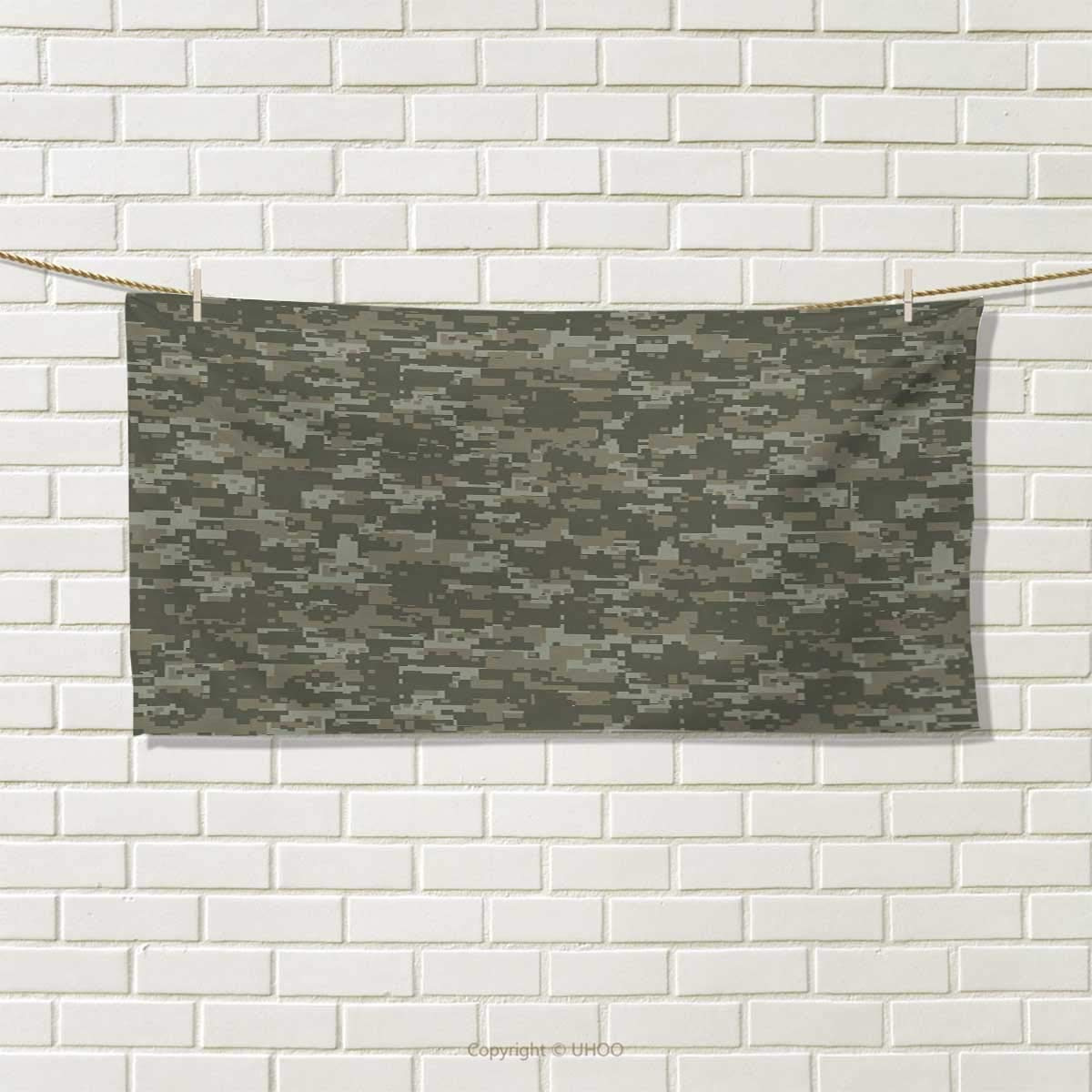 Chaneyhouse Camouflage,Hair Towel,Monochrome Attire Pattern Concealing Hiding in The Woods Themed Print,Quick-Dry Towels,Army Green Sage Green Size: W 8'' x L 23.5''