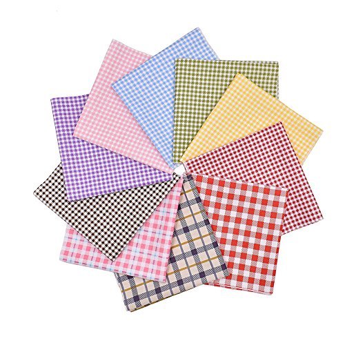 - RayLineDo 10pcs 16 x 16 inches (40cmx40cm) Print Cotton Check Series Fabric Bundle Squares Patchwork DIY Sewing Scrapbooking Quilting Pattern Artcraft