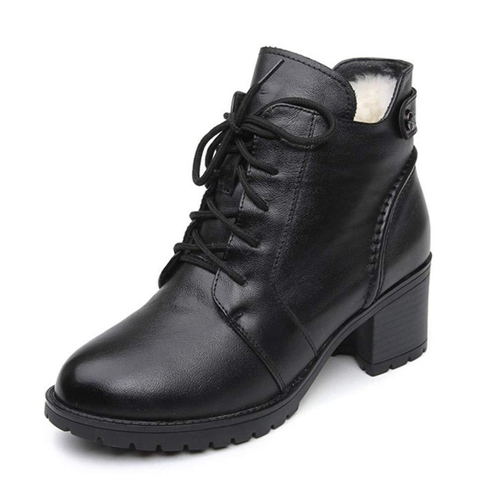 PINGXIANNV Bequeme Weiche Leder Winterstiefel Frauen Stiefeletten Lässige High Heels Schuhe Weibliche Schneeschuhe