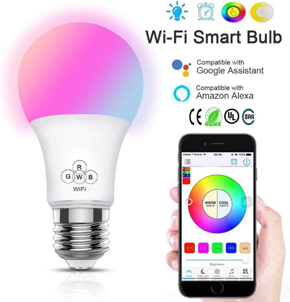 DSAEFG E27 WiFi Smart Light RGB LED Light Bulbs Lamp Compatible with Alexa Google Home