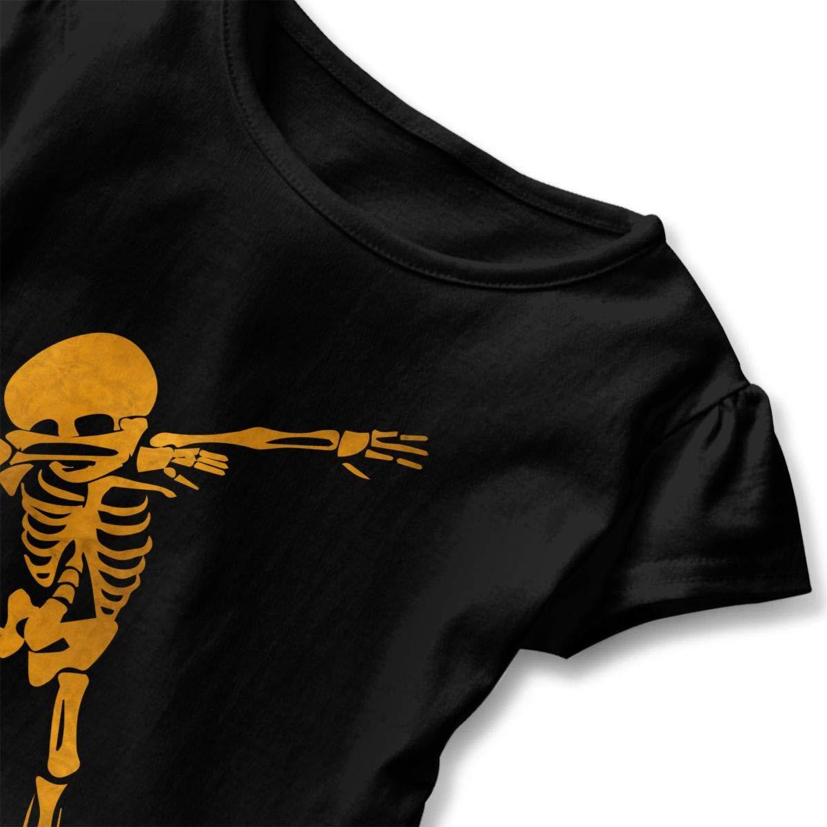 Golden Dab Dabbing Skeleton Baby Girls Summer Dress Outfits Ruffle Short T-Shirt Romper Dress,One-Piece Jumpsuit