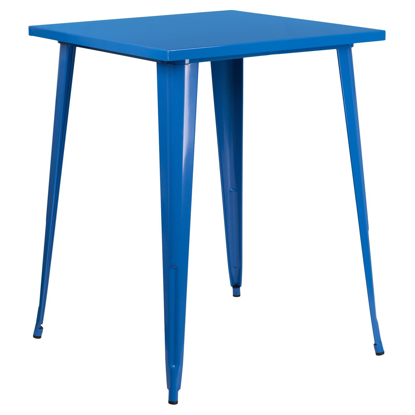 Basic 31.5'' Square Metal Indoor/Outdoor Bar Height Table with Protective Rubber Feet to Prevent Floor Damage, Thick Brace Underneath for Added Stability, Blue + Expert Home Guide by Love US