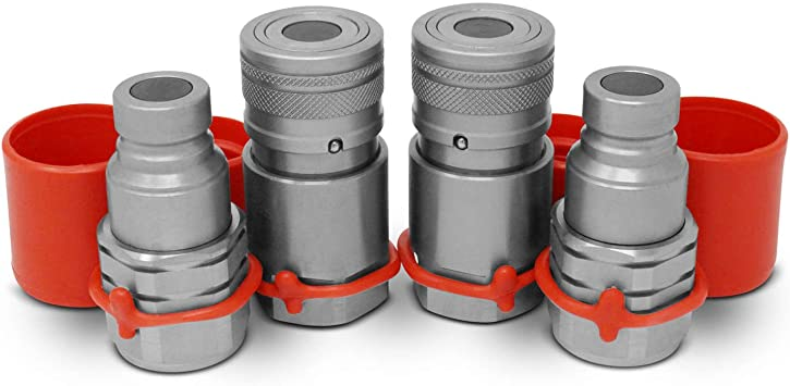 """1//2/"""" Skid Steer Bobcat Flat Face Hydraulic Quick Connect Couplers Couplings Set"""