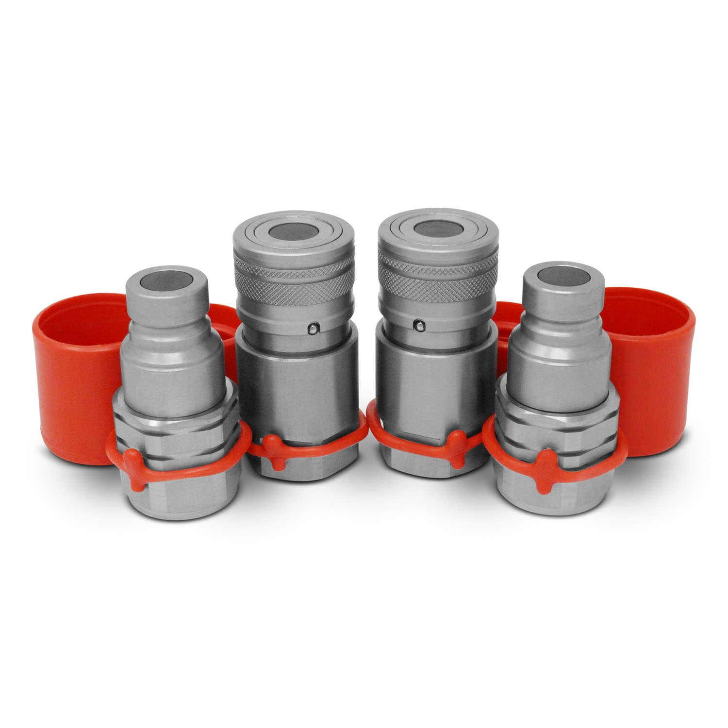 1/2'' Skid Steer Bobcat Flat Face Hydraulic Quick Connect Couplers / Couplings Set w/ Dust Caps, 2 Sets