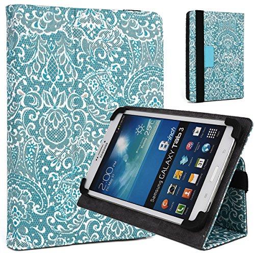 Mint Green/White Paisley Print Case Fits Samsung Galaxy Tab 4 7.0 Nook 7