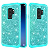 S9 Samsung Glitter Case and Screen Protector,QFFUN Bling Shiny Skin Soft Silicone Inner + Hard Plastic Back Hybrid Double Layer 2 in 1 Shell Shockproof Anti-scratch Mobile Phone Protective Cover for Samsung Galaxy S9 Case - Green