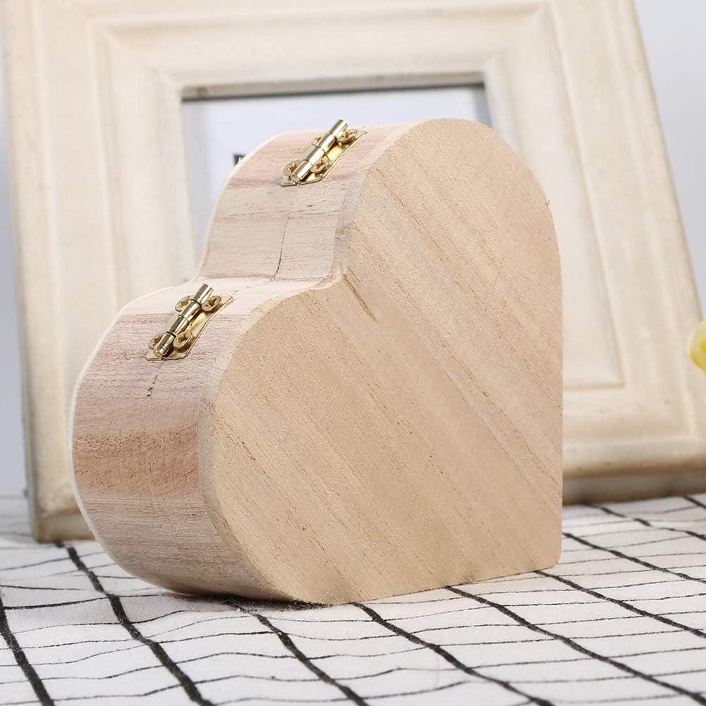 Belle bo/îte /à Bijoux en Bois en Forme de Coeur Emballage Bo/îte de Transport D/écoration Artisanale Zyyini Bo/îte de Rangement