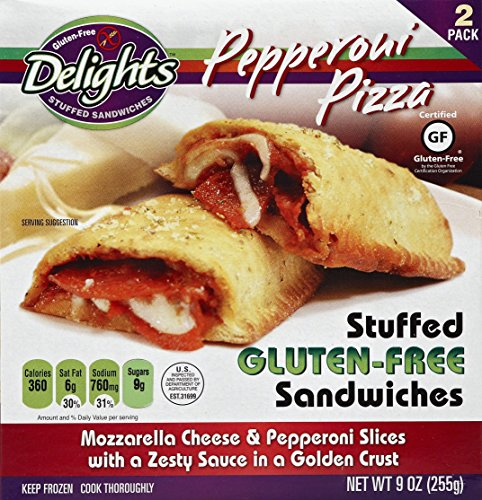 Stuffed Pizza - Gluten Free Delights Pepperoni Pizza Stuffed Sandwich, 9 Ounce (Pack of 6)
