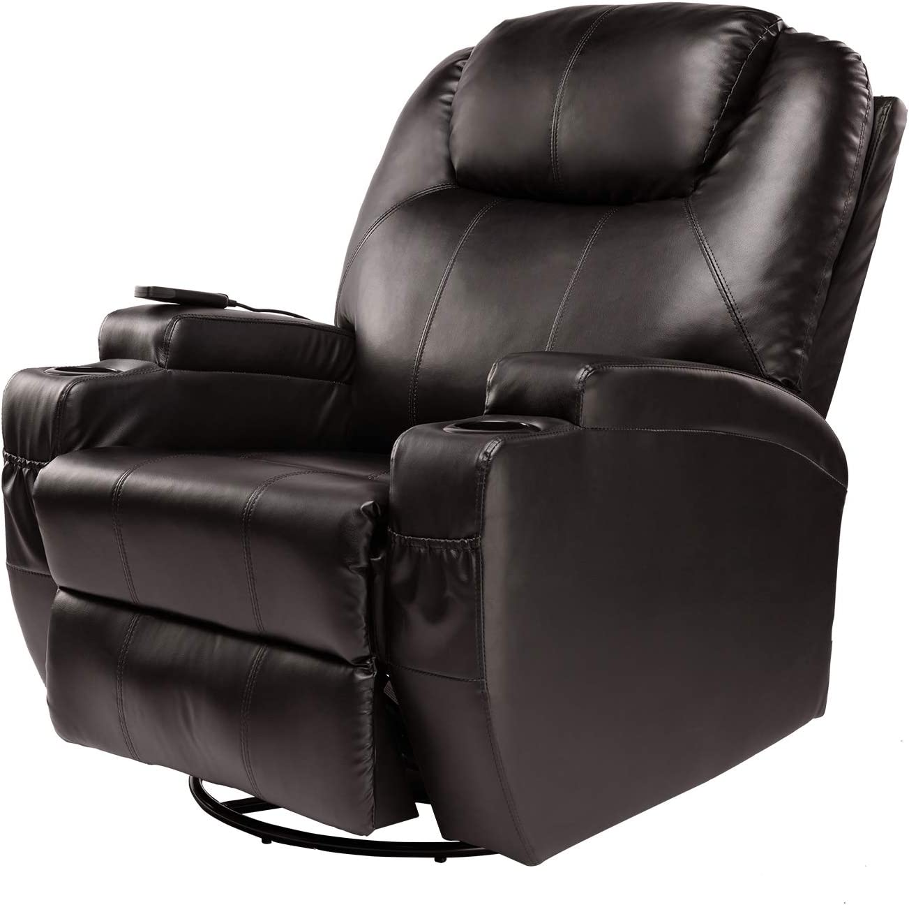 BAHOM 9 in 1 Massage Recliner Chair, 360 Swivel Ergonomic Lounge Chair with Remote Control, PU Leather with Headrest Adjustable Brown