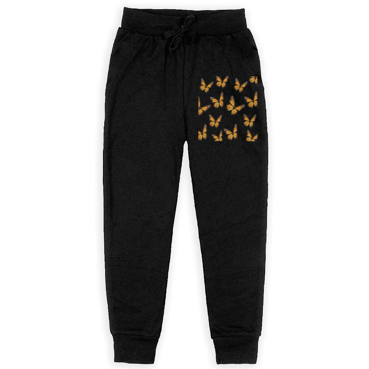 Boys Sweatpants Butterfly Flying Joggers Sport Training Pants Trousers Black L