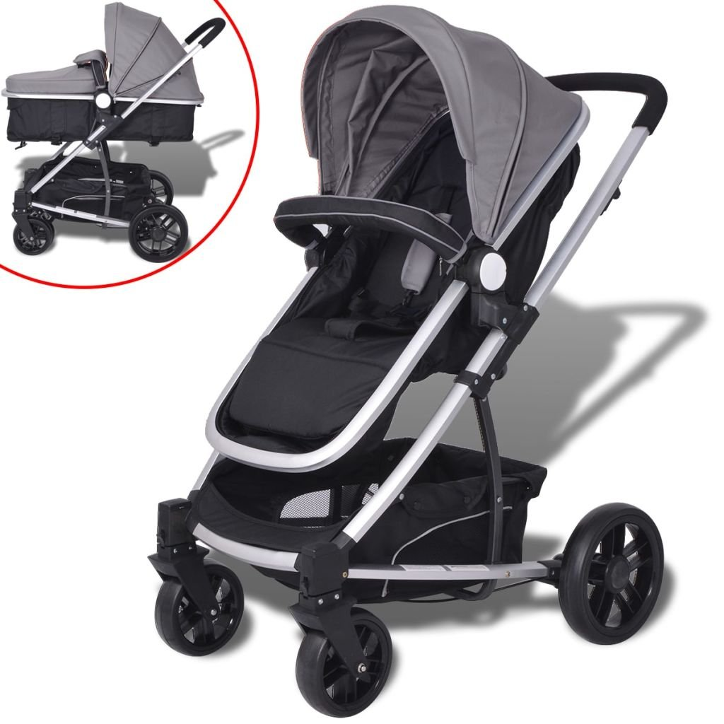 vidaXL 2-in-1 Kinderwagen Buggy Babywagen Babyjogger Reisebuggy Alu Blau/Schwarz
