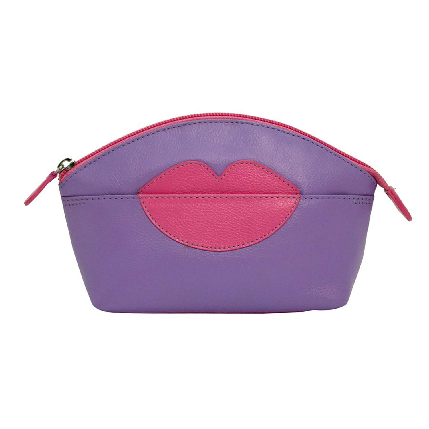 ili New York Hot Lips Leather Cosmetic Makeup Case Amethyst Hot Pink