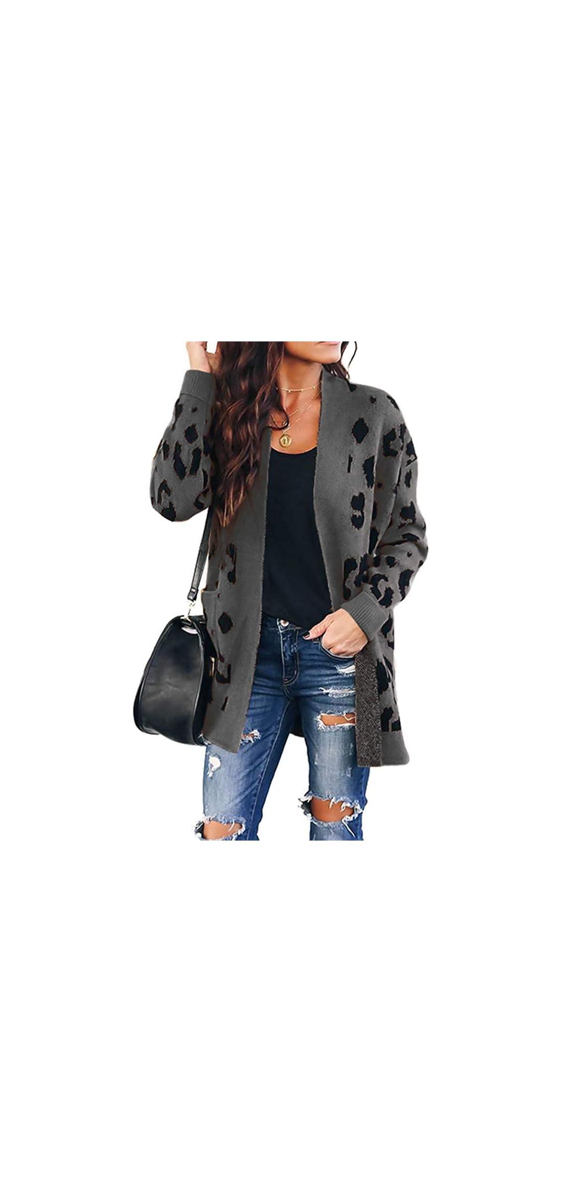 Women's Long Sleeves Open Front Leopard Print Button Down