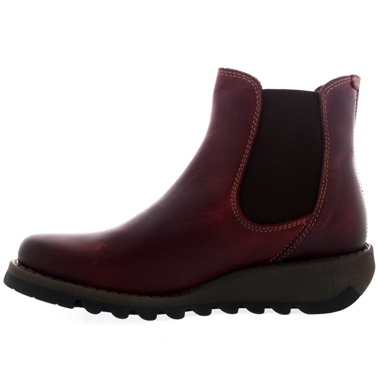 FLY London Salv Purple Leather Womens Ankle Boots 38