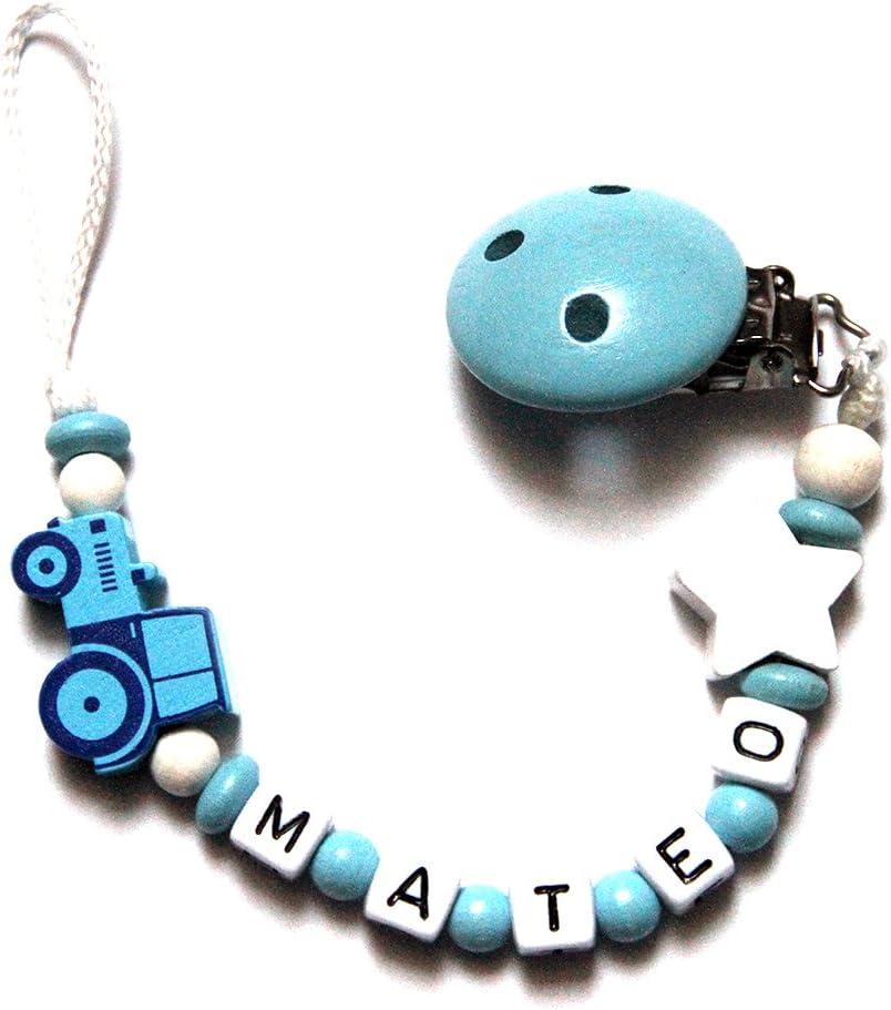 Baby Chupete con cadena de perlas de madera y nombre personalizado. Baby Azul con tractor y estrellas MATEO