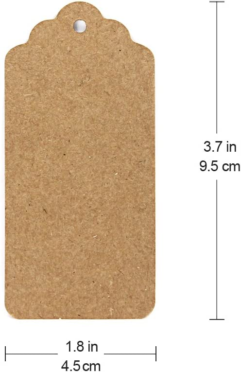 Blisstime Gift Tags 200 Pcs Kraft Paper Tags Hang Tags Blank Tags with 328ft Jute Twine String