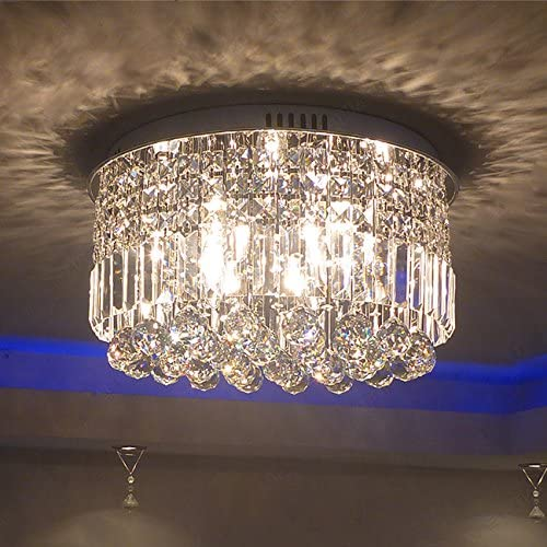 Yue Jia Round Rain Drop Clear K9 Crystal Ceiling Light Contemporary Chandelier Lighting Fixture