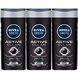 Nivea Men Active Clean Shower Gel, 250ml (Pack of 3)
