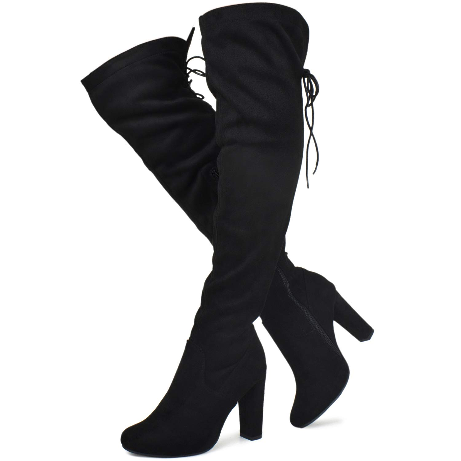 Prime Shoes - Women's Thigh High Stretch Boot - Trendy High Heel Shoe - Sexy Over The Knee Pullon Boot - Comfortable Easy Heel, 000000001 Black Size 8 by Prime Shoes