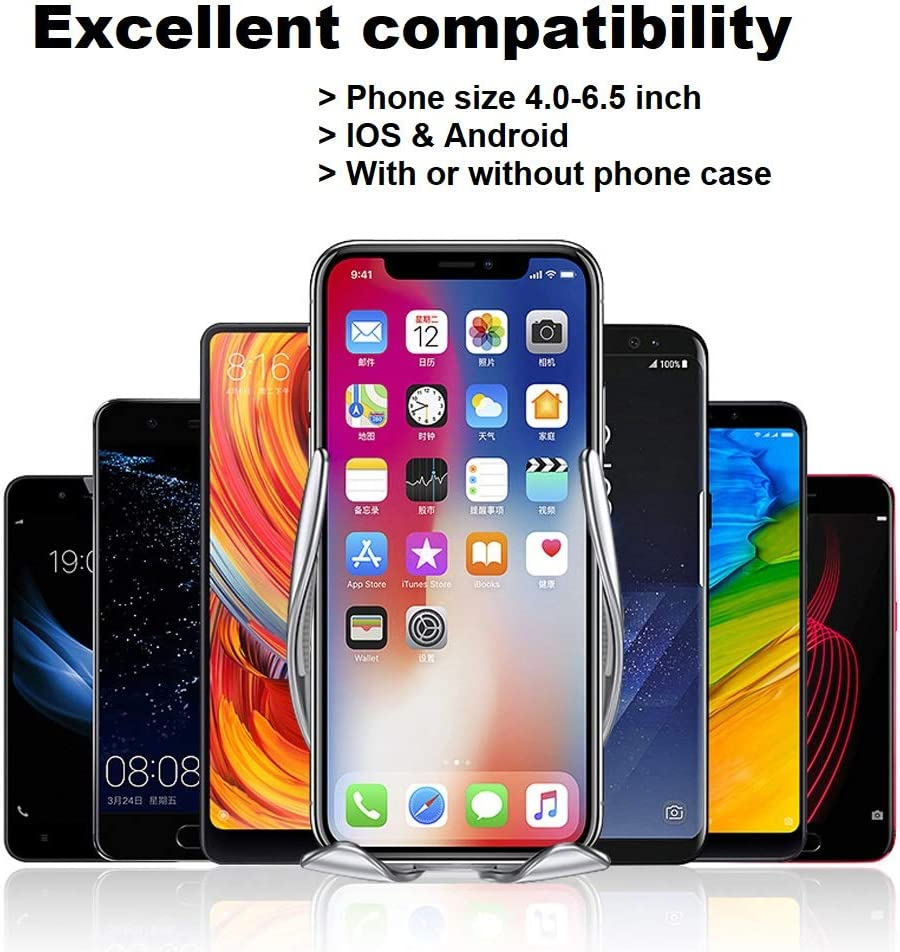 HQBKING Wireless Universal 360/° Rotation Car Phone Mount 10W Fast Car Charger QI Phone Car Mount Compatible iPhone Xs XS Max XR X 8 8 Plus Samsung Galaxy S10 S9 S8 S7 S6 and More