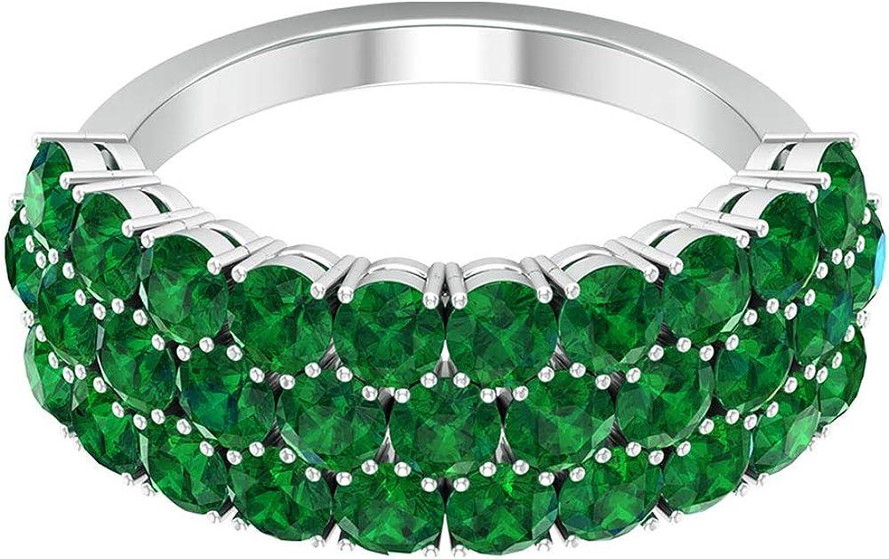 Anillo de oro esmeralda certificado SGL de 3,72 quilates, declaración para mujer, anillo de triple fila, clásico de piedras preciosas, 18K Oro