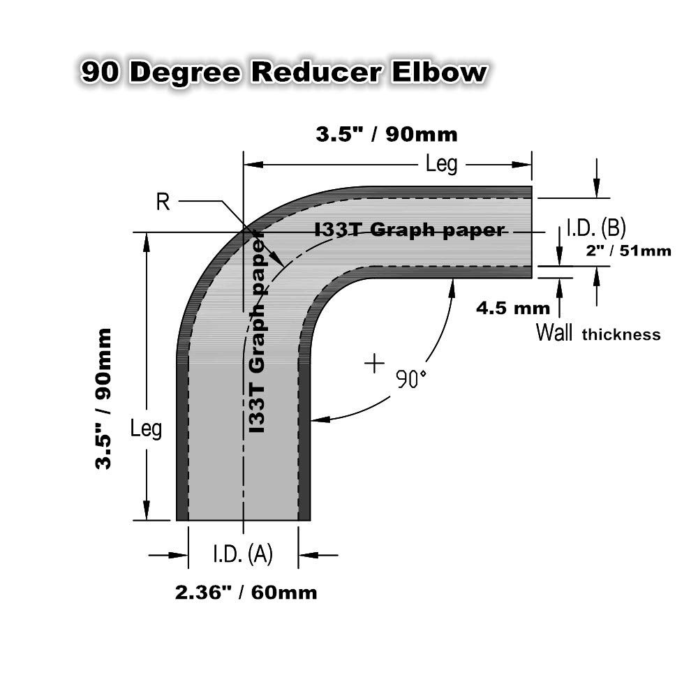 I33T 90-Deg Elbow Reducer Coupler 3-Ply Universal Automotive Silicone Hose Inner Diameter 2 Inch to 2.36 Inch Leg Length 3.5 Inch Blue 51 to 60 mm