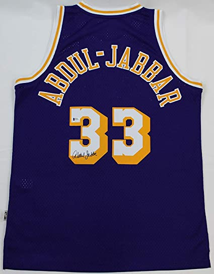 0a4fa3b83 Kareem Abdul-Jabbar Autographed Purple Los Angeles Lakers Jersey - Hand  Signed By Kareem Abdul
