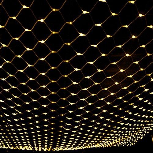 3 m * 2 m Net Lichter 208LED Netz-ineinander greifen Dekorative Lichterkette Twinkle Beleuchtung Weihnachten Hochzeit EU 220 V (Warm Weiß)