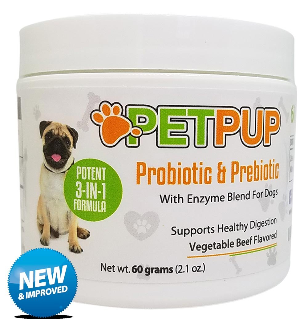 PetPup Probiotics and Prebiotics for Dogs with Digestive Enzymes by Powder Supplement for Dogs That Helps with Diarrhea, Gas, Bloating, Allergies, Itchy Skin, Bad Breath Relief, Flora Support & More