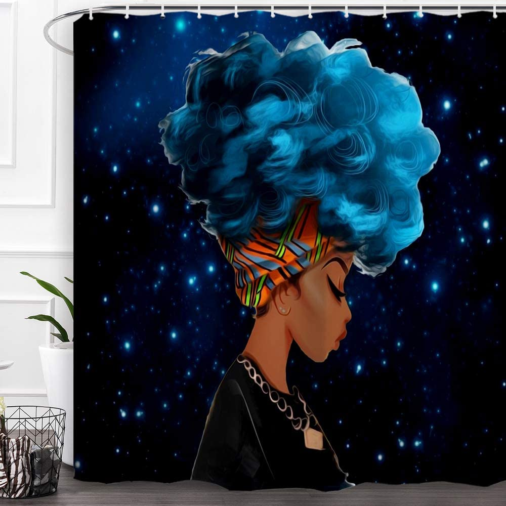 """Baccessor Black Girl Shower Curtain Afro African American Woman Lady Shower Curtain Hip Pop Bathroom Decor with Hooks,Waterproof Polyester Fabric, 72""""W x 72""""H (180CM x 180CM) - Blue-Haired Black Girl"""