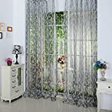 2016 Fashion Curtain Leaf Tulle Voile Door Window Curtain Drape Panel Sheer Scarf Valance 4 Color^Light Grey
