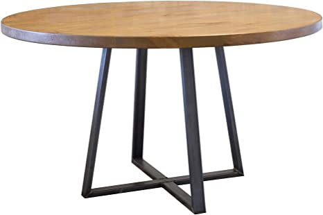 Amazon Com Round Industrial Steel Pedestal Table 60 Round Barn Wood Finish Kitchen Dining Room Furniture