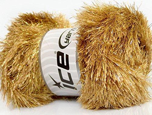 (Lot of 4 x 100gr Skeins Ice Yarns EYELASH DAZZLE Hand Knitting Yarn Camel Gold )
