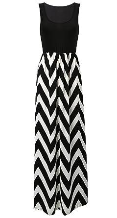 43fb7c7c400633 Cloudsemi Damen Sommerkleid Kleider Maxikleid Streifen Schulterfrei  Rundhals High Waist Lang Kleid Partykleid (XXL,