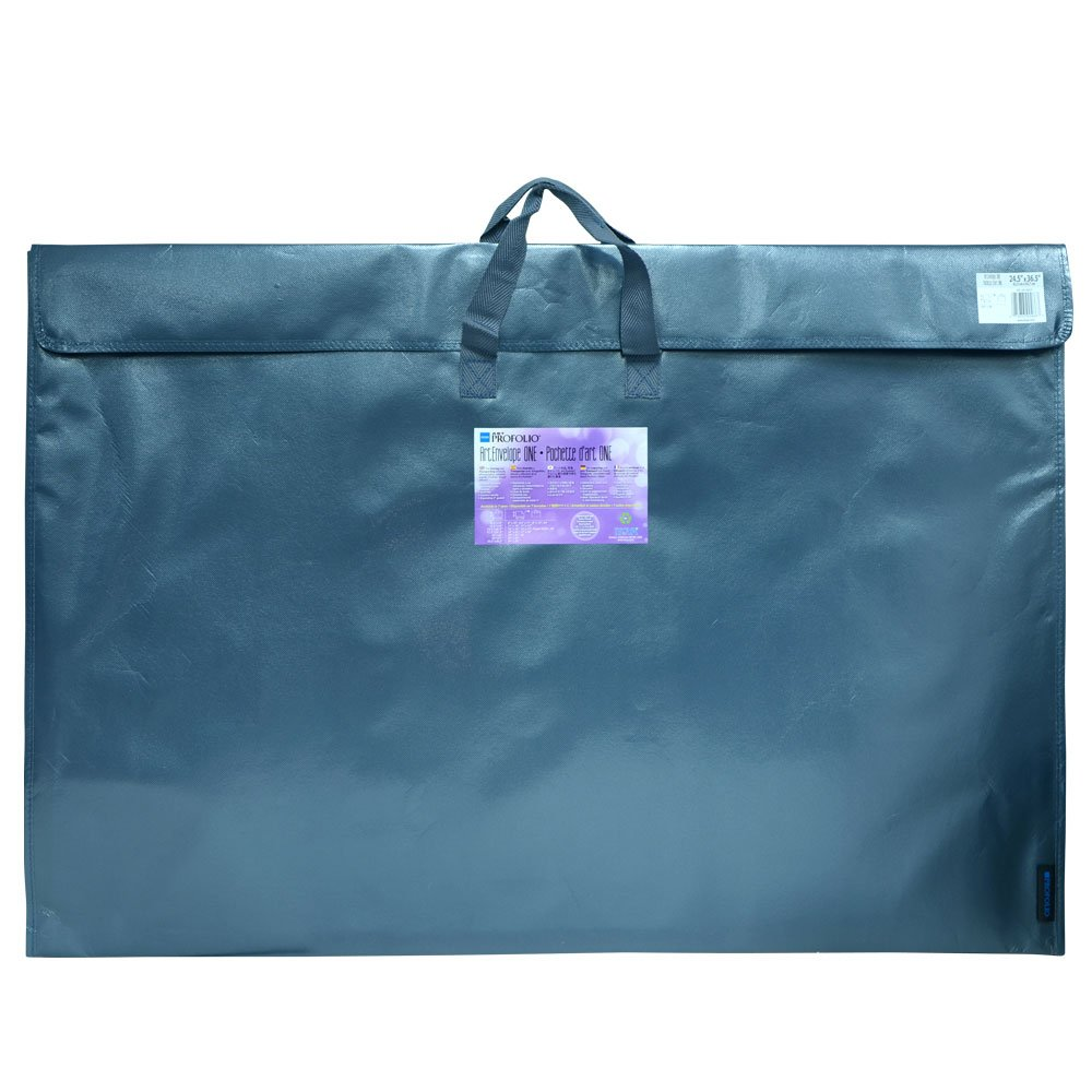 Itoya Profolio Art Envelope One, Weather-Resistant with Nylon Handles, 17.5 X 22.5 inches, Metallic Grey (NX-17-22GY)