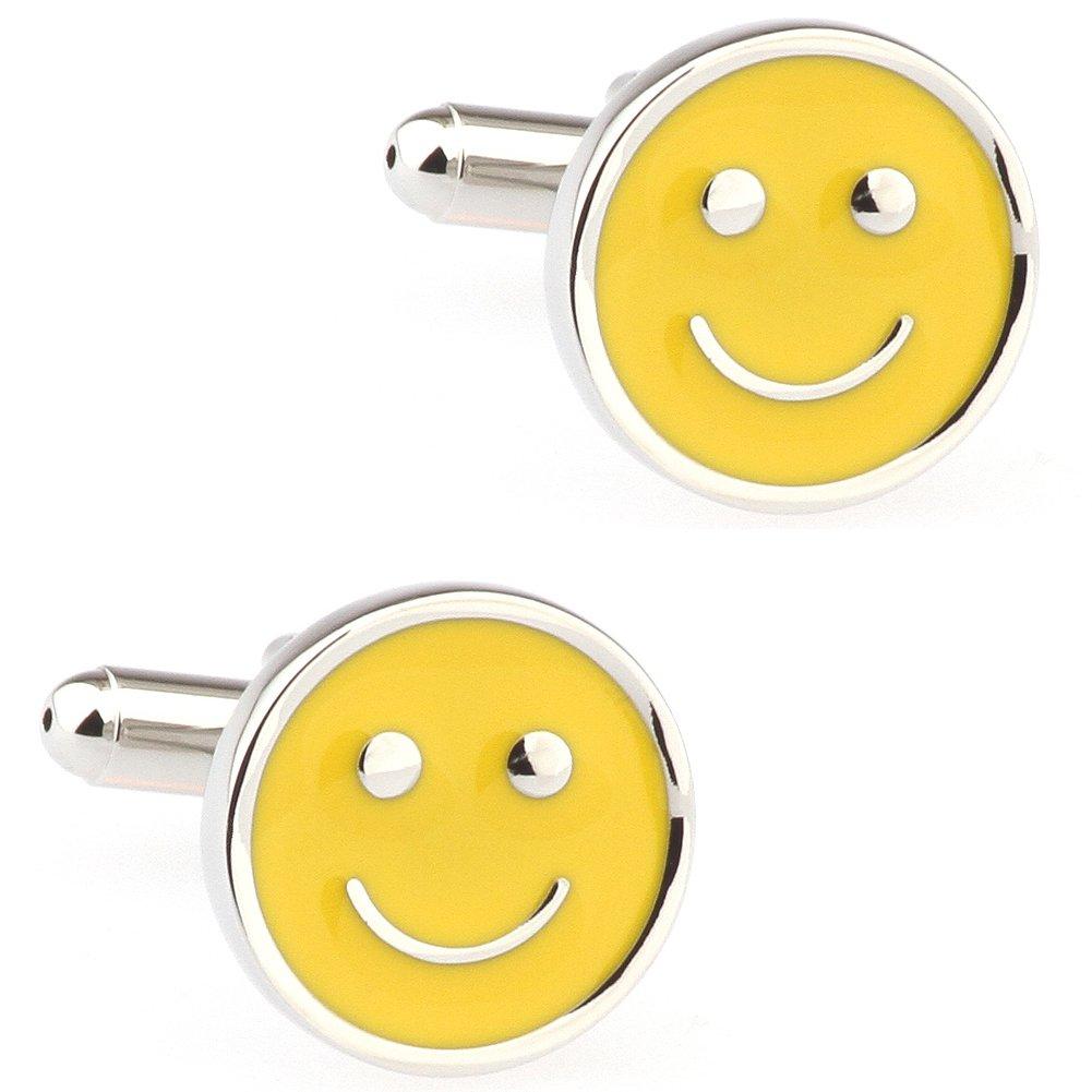 CIFIDET Smiley sonriente amarillo gemelos de moda camisa de hombre joyer/ía con caja de regalo