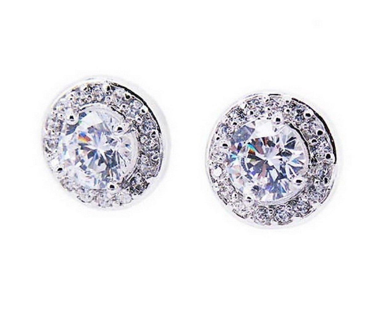 bde2f8689316 Amazon.com  Swarovski 925 Sterling Silver Stud Halo Earrings Women CZ  Diamonds Cubic Zirconia Celeste Solitaire Round Cut 1 CT Surrounded with  Swarovski ...
