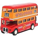Happy Cherry – Jouet de construction - Véhicules Miniatures – Bus touristique LONDON à deux ponts – Dimension 12.5*7*4cm échelle 1/50-Rouge