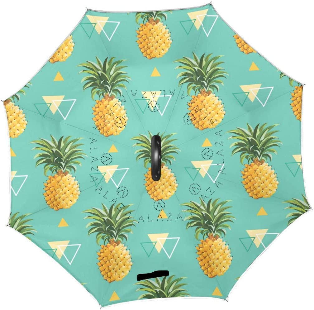 Geometric Pineapple Rainproof and Windproof UV Protection Double Layer Folding Inverted Umbrella with C-Shaped Handle Reverse Umbrellas For Car Rain Outdoor