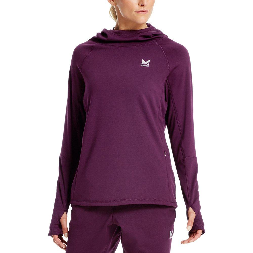 Mission Women's VaporActive Gravity Fleece Pullover Hoodie, Potent Purple, Medium