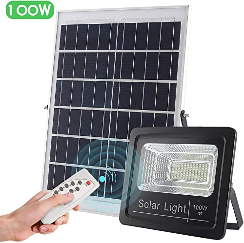 Solar Powered Street Flood Light Outdoor 100W, 3800 lumens IP67 Waterproof Solar Flood Lights with Remote Control Switch, Dusk to Dawn Security Lighting for Garden, Farm, Pool, Basketball Court