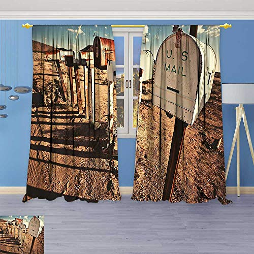 Philiphome Solid Grommet top Thermal Insulated Window Blackout Curtains Old Mailboxes in West America Rural Rusty Landscape Grunge Countryside Brown Blue White for Dining Room