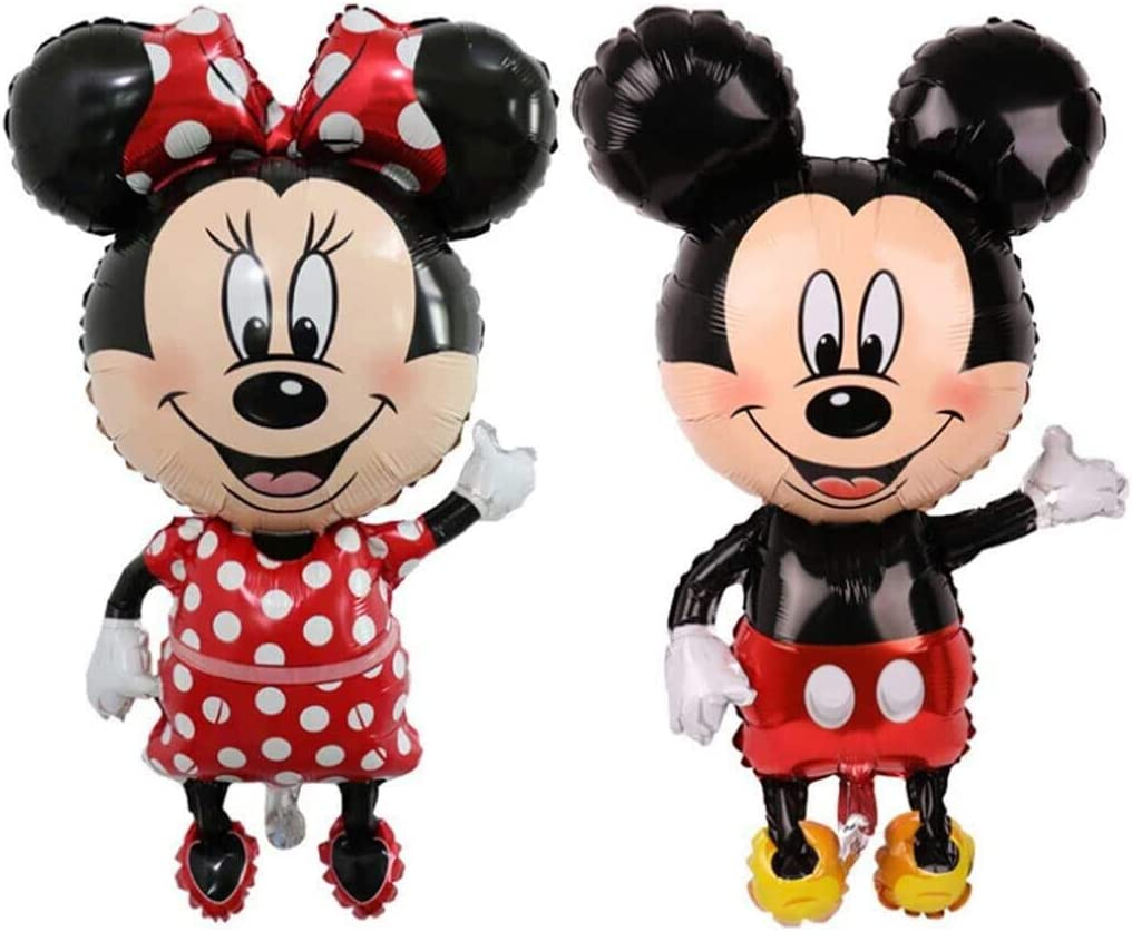 LALIFE 45 Inch Giant Jumbo Size Mickey Mouse Character Foil Balloon Minnie Mouse Balloons for Kids Birthday Party Decoration