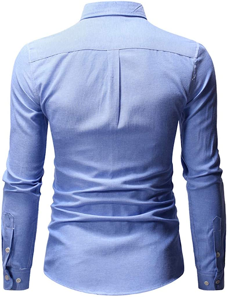 Mens Simple Shirts Pure Color Pocket Long Sleeve Solid Shirt Fashion Casual Blouse Top