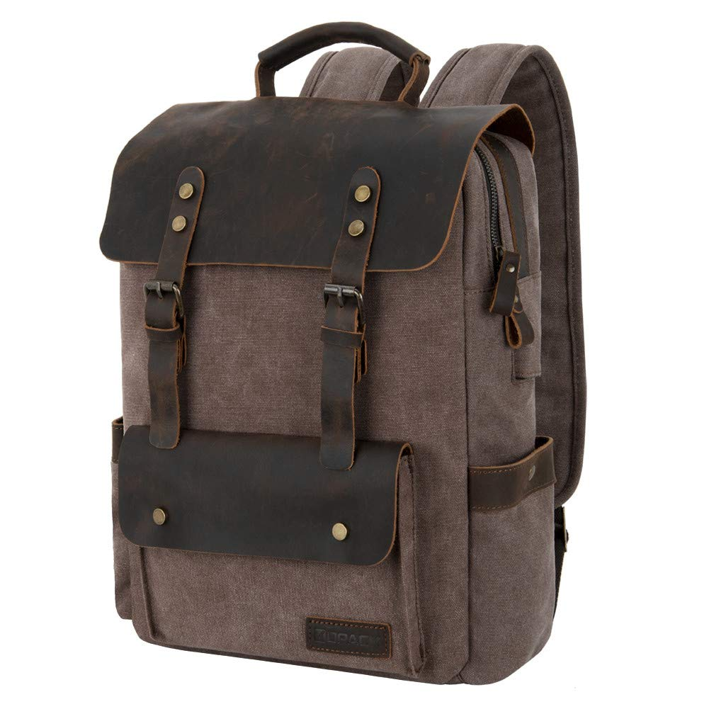 kopack Canvas Backpack with USB Port Laptop Backpack 15.6inch Genuine Leather College Bags Coffee