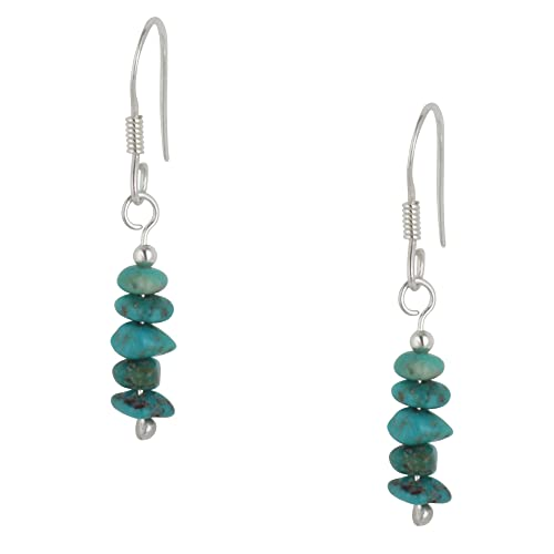 Silverly Women's .925 Sterling Silver Green Turquoise Gemstone Bead Drop Dangle Earrings